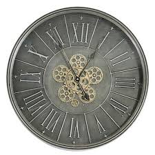 large 60cm wall clock dark grey chrome