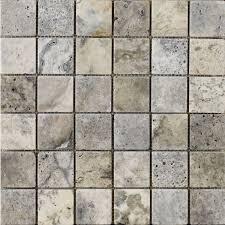 anatolian grey honed filled travertine mosaic 48x48mm