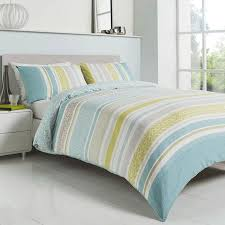 knox striped duvet set in duck egg blue