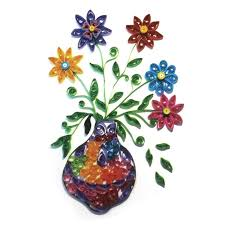 Flower Vase With Paper 3d Flower Vase Model Paper Folded Quilling Painting Art Diy Handmade
