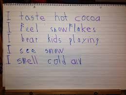 Sensory Details Anchor Chart Chalk Talk A Kindergarten Blog Sensory Details Poetry