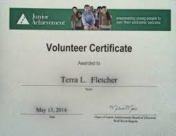 Volunteer Certificate Junior Achievement Volunteer Certificate Fletcher Consulting
