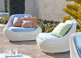 blue cushion for white rattan chairs for contemporary garden ideas