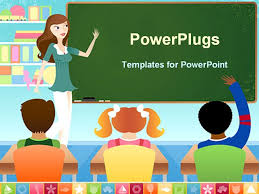 Teachers Powerpoint Templates Powerpoint Template Displaying Teacher And Three Pupils In Classroom