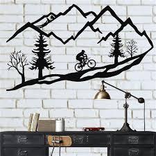 metal wall art mountain bike trees