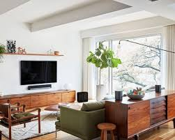 modern living room pictures. inspiration for a mid-sized 1960s open concept and formal medium tone wood floor modern living room pictures