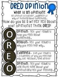 Fact Vs Opinion Anchor Chart Oreo Anchor Chart For Opinion Writing Www