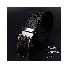 cowather 2019 good quality cow genuine leather belts for men alligator pattern automatic buckle mens belt original brand color black belt length 105