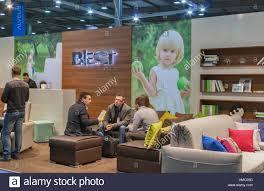 visitors visit blest ukrainian upholstered furniture pany booth HMC09D