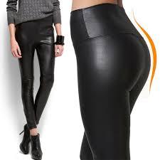 women faux leather leggings high waist winter warm pants velvet slim trousers ob 6 6 of 12