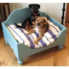 luxury wooden raised dog bed personalised
