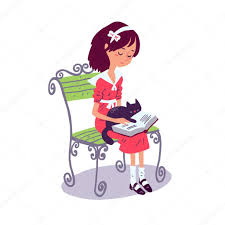 ilration of cartoon reading a book with cat on bench vector by schiva