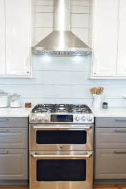 GE Cafe Series Gas Range And Double Oven IKEA Bodbyn Cabinets In Gray White