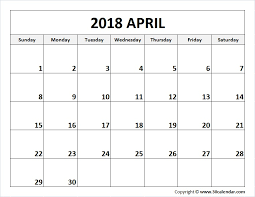 april calendar blank april 2018 calendar printable template 2018 april