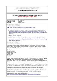 Phil20231 Resit Essay Questions School Of Social Sciences