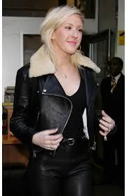 ellie goulding black leather jacket with fur collar
