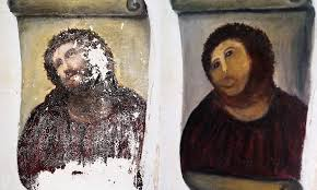 spanish art rer 82 who turned into a monkey in clumsy restoration of famous work signs merchandising deal as image gets imprinted on