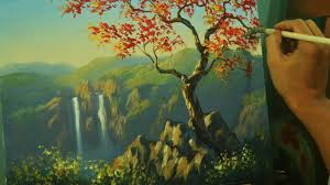 acrylic landscape painting tutorial autumn red tree with twin waterfalls by jm lisondra you
