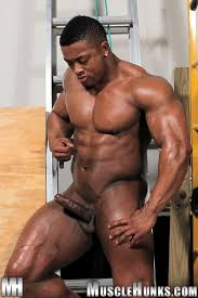 Black gay nude muscle man