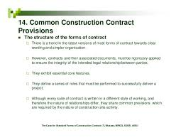 Contract Forms For Construction The Case For Standard Forms Of Construction Contract