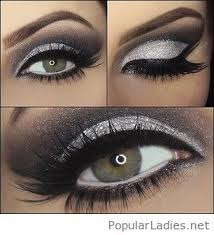 silver glitter and black eye make up