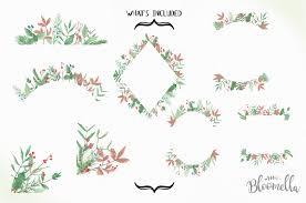 wonderland christmas frames watercolor foliage green festive holiday frames by bloomella thehungryjpeg