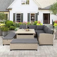 patio 6 piece rattan sofa seating