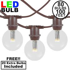 100 Light Warm White C9 String Set 80 Warm White Led G50 Commercial Grade Intermediate Base Light Set Brown Wire