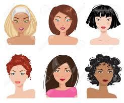 ルックスとヘアスタイルの種類を持つ女性のセット