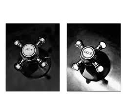 sale bathroom wall art black white powder room art set of 2 prints hot cold faucet prints vertical  on bathroom wall art black and white with sale blue bathroom wall art blue powder room art set of 2