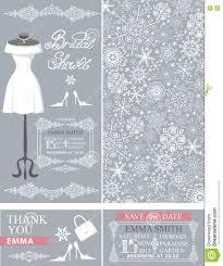 Winter Wedding Save The Date Bridal Shower Cards Winter Wedding Dress Pattern Stock Vector