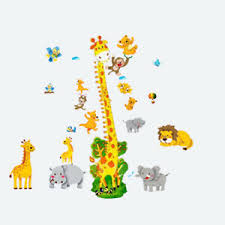 Details About Giraffe Animal Wall Stickers Height Chart Jungle Zoo Monkey Nursery Baby Room