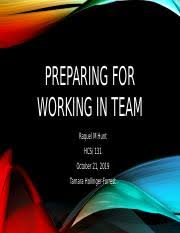 Preparing for Working in Teams with the Learning Tool Kit.pptx - Preparing  for Working in Teams with the Learning Tool Kit Erica Fetty HCS\/131 Diane  | Course Hero