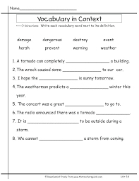 Vocab Building Worksheets Word Meaning Worksheets Grade Vocabulary Math Words And