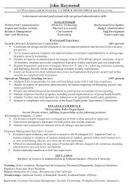 Security Director Resume Sample Objective Section Of For Police Of