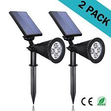 solar lights 2 in 1 led outdoor landscape lighting 200 lumens spotlight 2 pack easy to install waterproof perfect as inground garden security