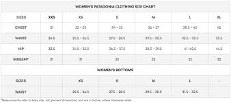 Patagonia Coat Size Chart West Coast Surf Shop Size Charts