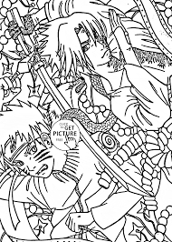Small Picture Naruto vs Sasuke anime coloring page for kids manga anime