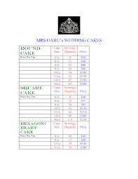 Cake Size And Price Chart Tiered Cake Pricing Sheet Cake Sizes And Servings Chart