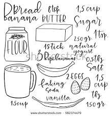hand drawn vector banana bread recipe ilration