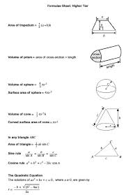 aqa gcse maths formula sheet