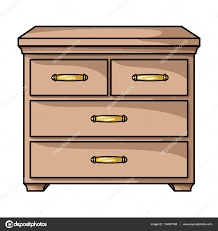 Cabinet With Drawers Wooden Cabinet With Drawers Icon In Cartoon Style Isolated On