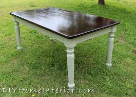 refinishing a dining room table with paint and wood stain diy home interior