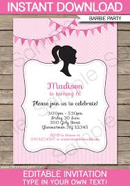 editable 30th birthday invitations barbie party invitations template