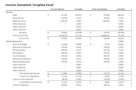 Income Statement Template Word Custom Monthly Income Statement Template Excel P L Small Business And