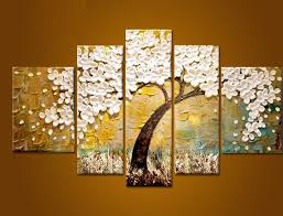 modern fashion abstract oil painting on canvas white flower tree paintings no frame