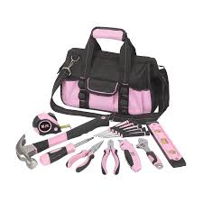 pink tool set. household tool set with soft case pink t