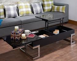 stylish with its black and chrome finish fits any home design sy contemporary coffee table made from pvc and particle board with metal supports