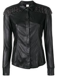 beaded fringe faux leather shirt