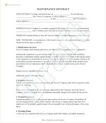 Sample Maintenance Contract Maintenance Agreement Template ...